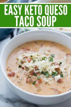 Queso Keto Taco Suppenrezept (schnell und einfach) - Queso Keto Taco Soup ist e. - Beulah Yundt - Queso Keto Taco Soup Recipe (Quick and Easy) – Queso Keto Taco Soup is a perfect quick and delicious recipe that everyone loves, even if – Low Carb Tacos, Low Carb Taco Soup, Easy Taco Soup, Low Carb Soup Recipes, Keto Soup, Keto Recipes, Healthy Recipes, Quick Recipes, Taco Soup Recipes