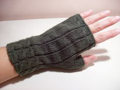 Fun fingerless cabled mittens/wristers I made.