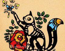 Day of the Dead CAT Dia de los Muertos Art Print 5 x 7 - Choose your own words - Shelter Donation