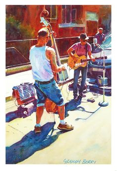 """Graham Berry, Two buskers 15"""" x 10"""" watercolour"""
