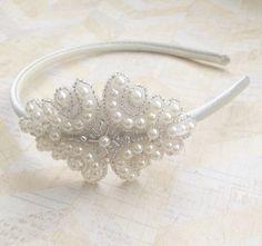 Cream pearl headbandflower girl headbandcream satin by Abelialane