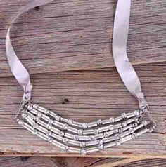 $22 Gray Skies Silver Ox Necklace With Satin Ribbon - Unique Vintage - Cocktail, Pinup, Holiday & Prom Dresses.
