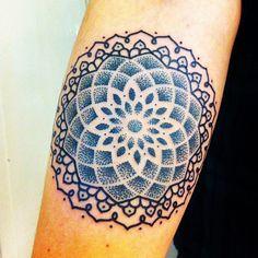 Blue mandala tattoo. Dot detail!