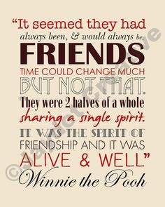WINNIE The POOH Friendship Quote PRINTABLE by JaydotCreative