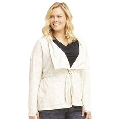 Plus Size Marika Leeanne Drawstring Workout Cardigan *** Check this awesome product by going to the link at the image.