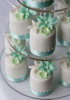 Aqua blossom & starfish mini cakes for the dessert buffet table. #dessert #buffet