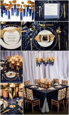 Vibrant Gold and Rich Blues! Design by One Fine Day Events and Bellissima Floral