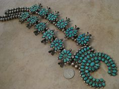 CG Wallace Ondelacy Vintage Zuni Lone Mountain Turquoise Squash Blossom Necklace | eBay
