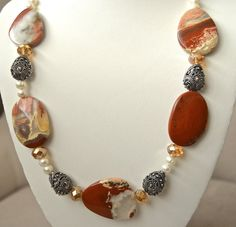 Red jasper necklace by BellaMiaJewelryCA on Etsy, $46.00