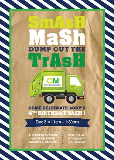 Garbage Truck Birthday Party Invitation - 5x7 - by LizBasseyStudios