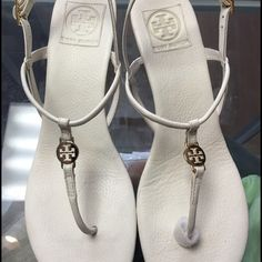 Tory Burch Emmy Demi Thong Wedge White gold sandal Tory burch Emmy Demi Wedge white leather upper and leather lining size 11M  leather thong with gold tone logo Tory Burch Shoes Sandals