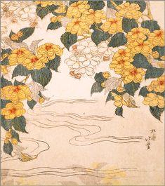 SALE colored paper <Yamabuki (partial view) to Sakura> Katsushika Hokusai brush usually 50% OFF the price ¥ 1500