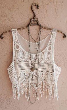 White crochet fringe crop tops
