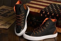 Newest Vampire Diaries Season with Converse Chuck Taylor All Star High Tops Black Brown Orange Denim Sneakers [S14032001] - $58.00 : Discount Converse All Star Sneakers Sale,Converse All Star Sandals,Comics and Womens Platform Sneakers