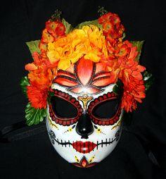Sugar Skull MASK for Dia De Los Muertos with Orange Lotus. $85.00, via Etsy.