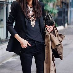 Cool Chic Style Fashion: Fashion Inspiration | Pepamack : Denim & Comfy Sweaters, Blazer, Trench & Sneakers
