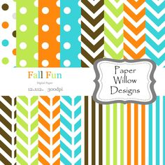 Fall Fun-(16)-12x12 Digital Papers-300dpi-Instant Download-Colorful-Turquoise-Orange-Green-Chevron-Stripe-Polka Dots by PaperWillowDesigns on Etsy