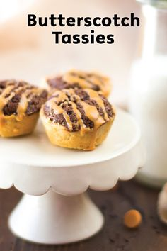 These Butterscotch Tassies are as delicious as they are cute. With a golden-brown pastry crust, chocolatey filling, and frosting drizzle, these sweet bites are ideal for special holiday occasions.