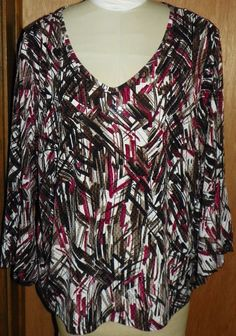Cato Woman 26 28 Plus Size Brown Black Rose Abstract Tunic Top Blouse Shirt NWOT #Cato #Tunic #CasualEveryday