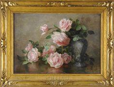 Rose Oil Painting, China Painting, Rose Flower Wallpaper, Rose Art, Beautiful Paintings, Vintage Prints, Painting Inspiration, Flower Art, Pink Roses