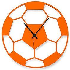 """Wandkings Wanduhr """"Fußball"""" aus Acrylglas, in 11 Farben erhältlich (Farbe: Uhr = Orange glänzend; Zeiger = Schwarz)"""