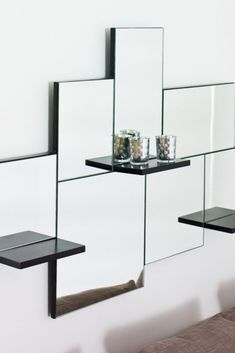 Amazing mirror with shelves for your bedroom, living room or hallway Living Room Shelves, Living Room Decor, Contemporary Wall Mirrors, Modern Mirrors, Dream Shower, Mirror With Shelf, Design Your Home, Glass Shelves, Interior Design Living Room