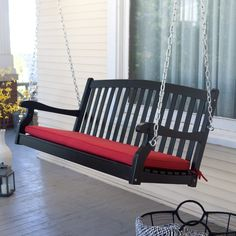 Coral Coast Pleasant Bay Black Curved Back Porch Swing with Optional Cushion - NWF020