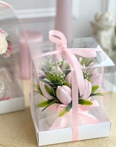 Flower Box Gift, Flower Boxes, Flowers, Bridesmaid Dresses With Sleeves, Flower Arrangements, Gift Wrapping, Table Decorations, Gifts, Ideas