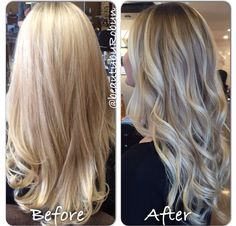 Before and after. Dimensional blonde Balayage. By Robyn Zekaria
