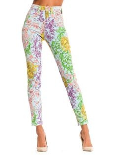 ad0507a3bf66 Gianni Versace Baroque Print High-Waisted Jeans