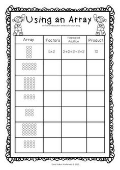 arrays worksheets grade two math standard first multiplication printables. Black Bedroom Furniture Sets. Home Design Ideas