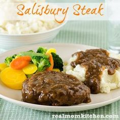 Salisbury Steak | realmomkitchen.com THIS ONE.  We make ours with ground turkey.  It will absorb the flavor of the broth and the gravy.
