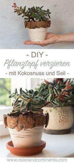 DIY • Blumentopf verzieren mit Kokosnuss und Seil – Upcycling Idee für Deko Diy Interior, Diy Recycling, Upcycle, Diy Balkon, Planter Pots, Place Card Holders, Deco, Plants, Blog