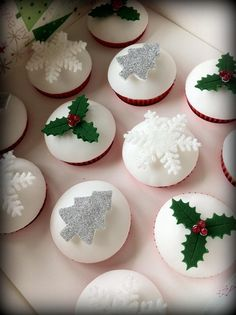 snowflakes, holly and trees
