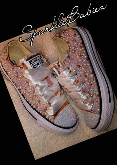 Custom Bling & Pearl Converse All Star Chuck Taylor Converse Wedding Shoes, Bling Converse, Wedding Sneakers, Prom Shoes, Converse Shoes, Bedazzled Shoes, Bling Shoes, Glitter Shoes, Bedazzled Converse Diy