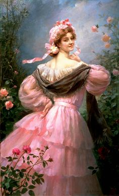 Giovanni Costa. Lady in a Pink Dress and Fan.