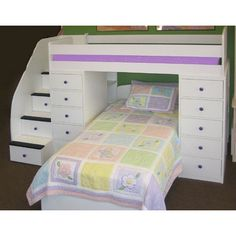 Dream Bunk Beds design for the girls    Berg Sierra Space Saver Twin Bunk Bed with Chest & Stairs