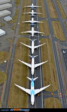 Production Boeing 787-8 Dreamliner aircraft in storage.