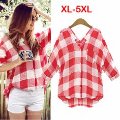 Find More Blouses & Shirts Information about 5XL Plus Size Women Plaid Blouse 2015 Summer New Europe Style Fashion Plaid Shirt Casual Female Tops Clothing Blusas Femininas,High Quality clothing retro,China shirt size Suppliers, Cheap shirt soccer from Minabell Fashion Store on Aliexpress.com