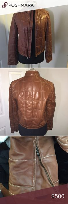 Ralph Lauren brown leather jacket *make offer* Ralph Lauren buttery soft Carmel brown leather jacket size medium. Quilt like seams. Only slight wear on corners of arms end as noted and small scratch as seen in last photo. The jacket otherwise is in EUC. I wish it fit me or I'd keep it myself. Feel free to make an offer. Selling for someone else. 🎉Bundle deals available (I carry various sizes and brands): 2 items 10% off, 3 items 15% off, 4 items or more 20% off 🎉 Ralph Lauren Jackets…