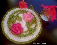 PINK ROSE CROCHET : Pega Panelas - Crochet Rose Flower Pot Holders