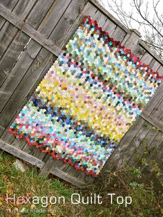 michele made me: Hexagon Quilt Top----I really like the color sequencing in this quilt