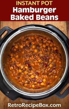 Instant Pot Hamburger Baked Beans are flavorful, hearty & filling. This recipe is easy to make. Pressure cooker hamburger beans are also called Cowboy Beans Baked Beans With Hamburger, Cowboy Baked Beans, Cowboy Beans, Good Baked Beans Recipe, Baked Bean Recipes, Crockpot Recipes, Retro Recipes, Easy Recipes, Side Dish Recipes