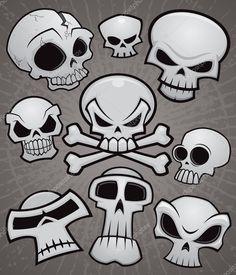 Una colección de cráneos de dibujos animados vector en varios estilos