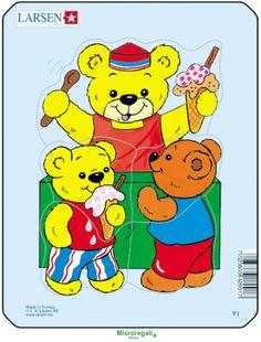 Puzzle per Bambini ORSETTI CON GELATO cm 18x14 (5 pezzi). Larsen. - Puzzle, Puzzle in Legno e Giganti - Regali per i BAMBINI