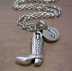Personalized Cowboy Boot Charm Necklace Silver by FiftyEighteen, $16.00