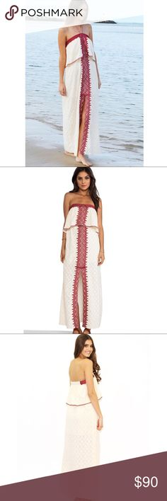 Free People Marrakech Embroidered Maxi Dress patterned tube dress featuring flyaway overlay and embroidered detailing. front slit. Elastic banding at bust and back. Lined. Straps can be adjusted multiple ways. Free People Dresses Maxi