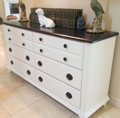 Image for Upcycled Vintage Black and White Dresser, Media Console, Buffet, Ches vintage black dresser