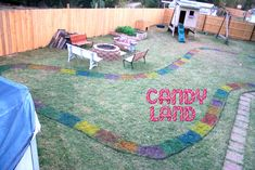 Candy Land birthday party! I love the spray painted game board!