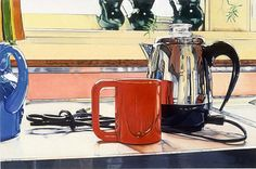 """Farberware Coffeepot No. VI"", 1976, Jeanette Pasin Sloan, colored pencil on paperboard, 30 1/8 x 40 1/8 in. (76.4 x 101.8 cm), Smithsonian American Art Museum, Museum purchase, 1977.27"